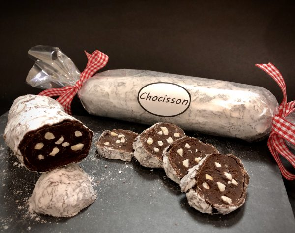 Chocolaterie à Nice Saucisson ganache chocolat Noir