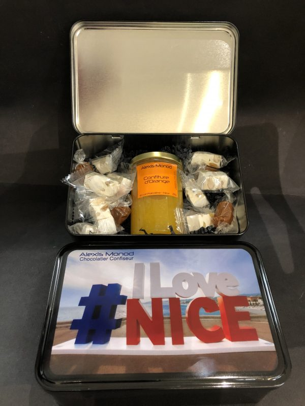 Boîte nougats et caramels et confiture I LOVE NICE v2 - Confiserie à Nice Boîte I LOVE NICE v2