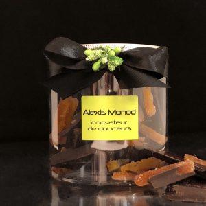Boîte de chocolat concassé noir aux écorces d'oranges confites - Chocolaterie et confiserie à Nice